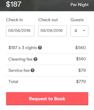 Airbnb fees at booking